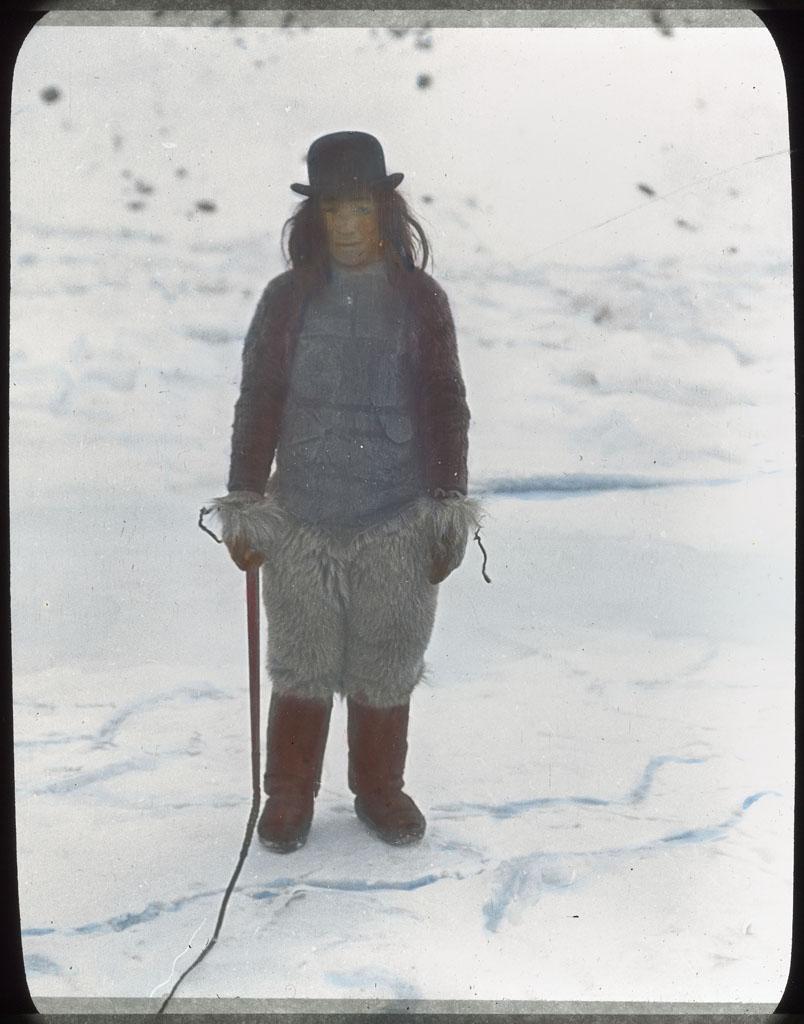 Donald Baxter MacMillan; Kah-ko-tchee-ah in Derby Hat; 1913-1917; image; silver gelatin on glass; 10.16 cm x 8.26 cm x 0.64 cm (4 in. x 3 1/4 in. x 1/4 in.); TGM; North America