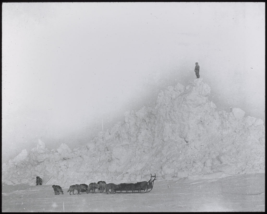 Donald Baxter MacMillan; Man On Top of Pressure Ridge. Polar Sea; 1913-1917; image; silver gelatin on glass; 10.16 cm x 8.26 cm x 0.64 cm (4 in. x 3 1/4 in. x 1/4 in.); TGM; North America