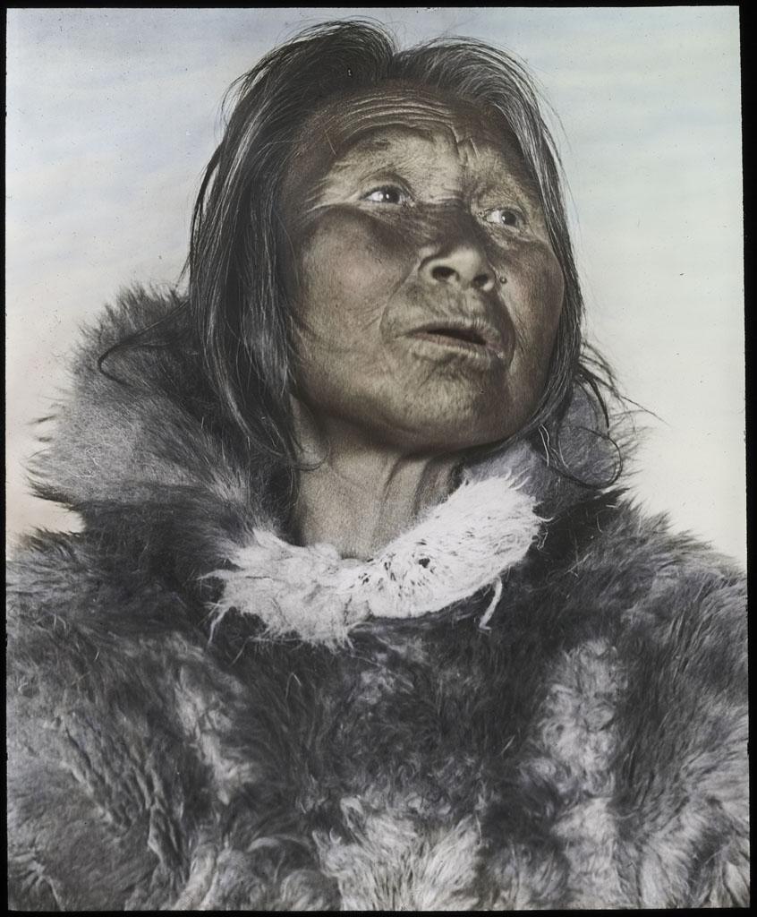 Donald Baxter MacMillan; Old Woman; 1913-1917; image; silver gelatin on glass; 10.16 cm x 8.26 cm x 0.64 cm (4 in. x 3 1/4 in. x 1/4 in.); TGM; North America