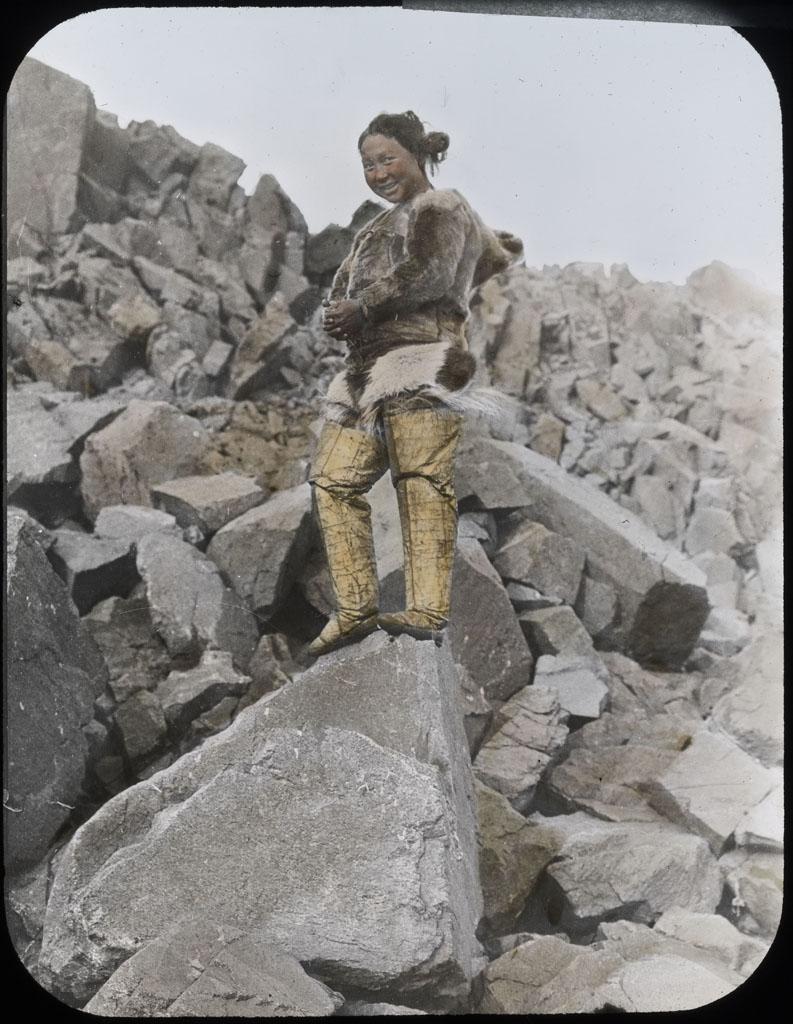 Donald Baxter MacMillan; Ah-kah-ting-wah. Northwest Greenland woman; 1913-1917; image; silver gelatin on glass; 10.16 cm x 8.26 cm x 0.64 cm (4 in. x 3 1/4 in. x 1/4 in.); TGM; North America