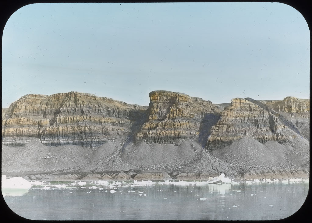 Donald Baxter MacMillan; Stratified Cliffs, North Greenland; 1913-1917; image; silver gelatin on glass; 10.16 cm x 8.26 cm x 0.64 cm (4 in. x 3 1/4 in. x 1/4 in.); TGM; North America