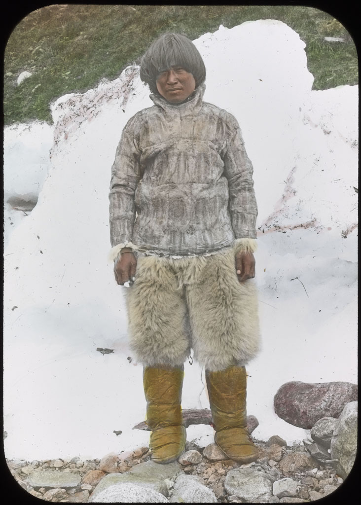 Eskimo man wearing shirt of Dovekie skins