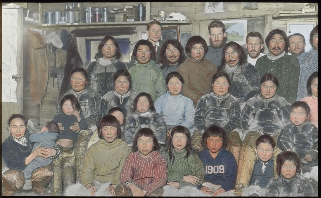 Donald Baxter MacMillan; Eskimos and Crew members; 1913 - 1917; image; silver gelatin on glass; 10.16 cm x 8.26 cm x 0.64 cm (4 in. x 3 1/4 in. x 1/4 in.); TGM; North America