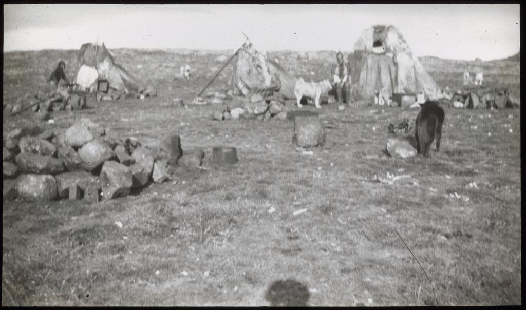 Donald Baxter MacMillan; Eskimo Village; 1913-1917; image; silver gelatin on glass; 10.16 cm x 8.26 cm x 0.64 cm (4 in. x 3 1/4 in. x 1/4 in.); TGM; North America