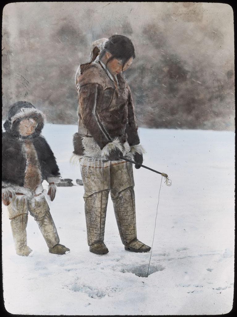 Donald Baxter MacMillan; Alida Lake, Ahnenah Fishing; 1913-1917; image; silver gelatin on glass; 10.16 cm x 8.26 cm x 0.64 cm (4 in. x 3 1/4 in. x 1/4 in.); TGM; North America