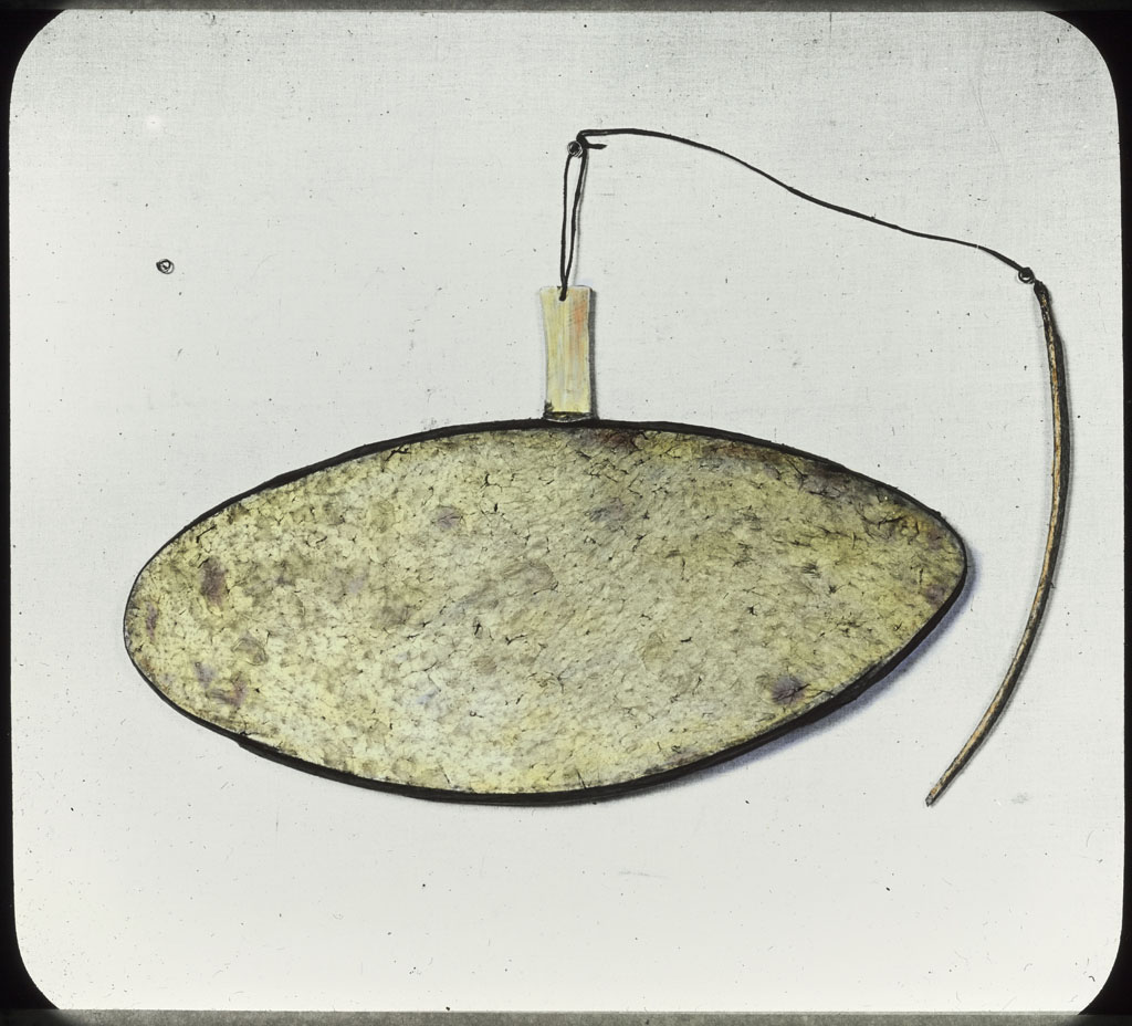 Donald Baxter MacMillan; Kilautee (musical instrument), color; 1913-1917; image; silver gelatin on glass; 10.16 cm x 8.26 cm x 0.64 cm (4 in. x 3 1/4 in. x 1/4 in.); TGM; North America