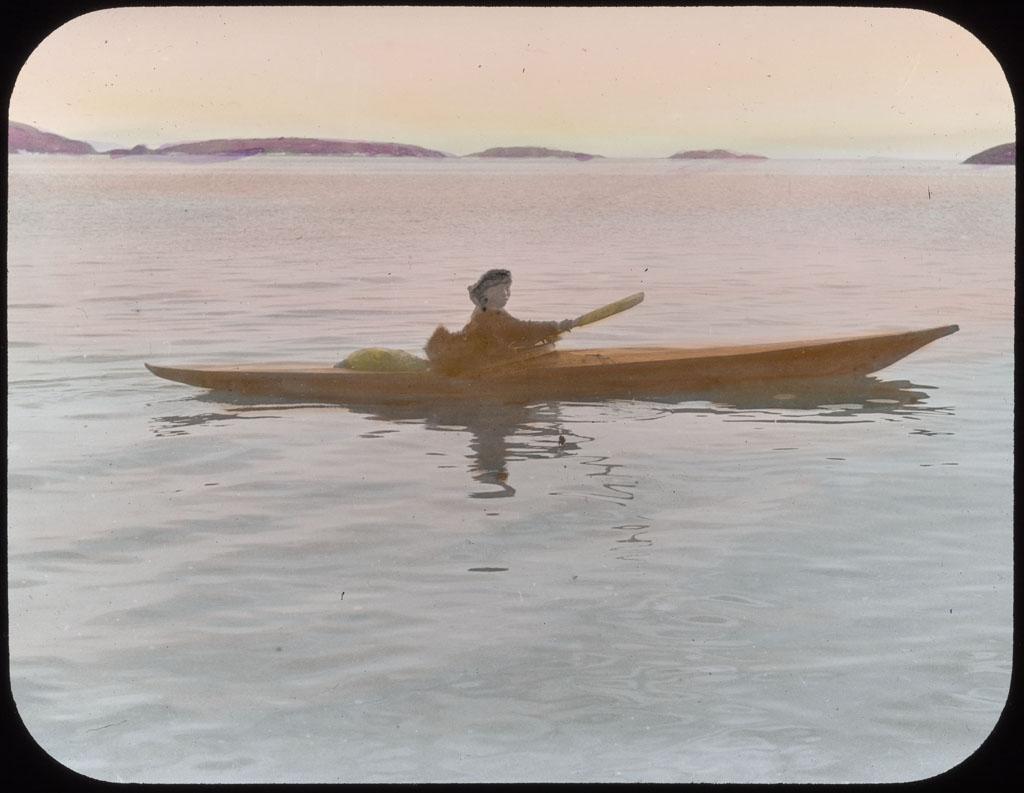 Donald Baxter MacMillan; Eskimo Boy Oo-dee in Kayak at Etah, North Greenland; 1913-1917; image; silver gelatin on glass; 10.16 cm x 8.26 cm x 0.64 cm (4 in. x 3 1/4 in. x 1/4 in.); TGM; North America