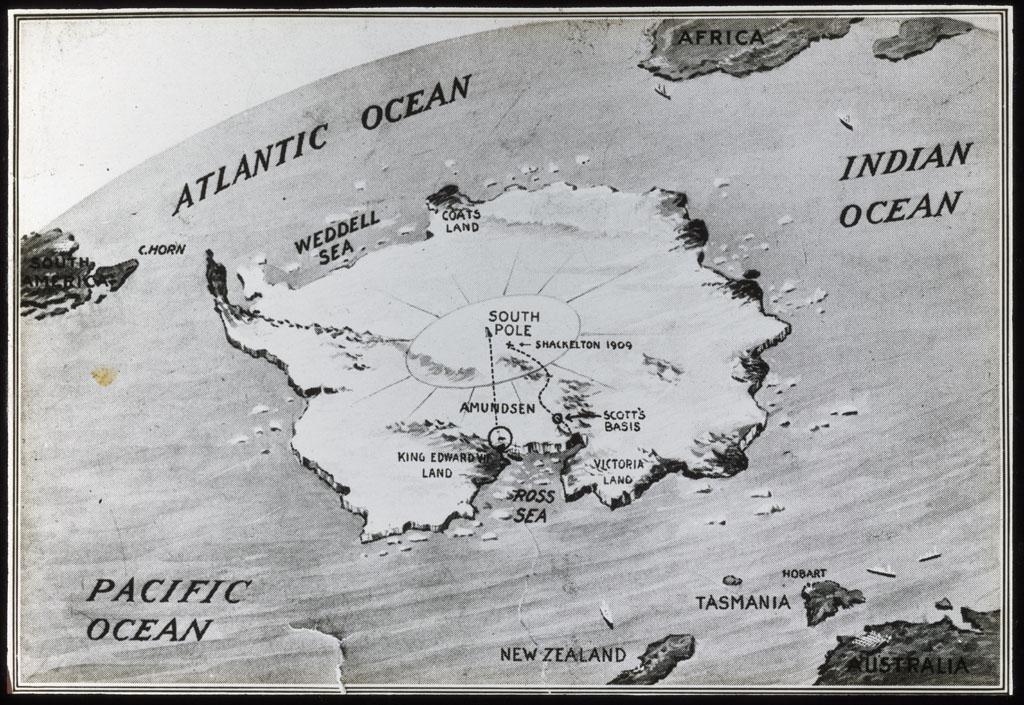 Donald Baxter MacMillan; Antarctica, Map; 1913-1917; image; silver gelatin on glass; 10.16 cm x 8.26 cm x 0.64 cm (4 in. x 3 1/4 in. x 1/4 in.); TGM; Antarctica