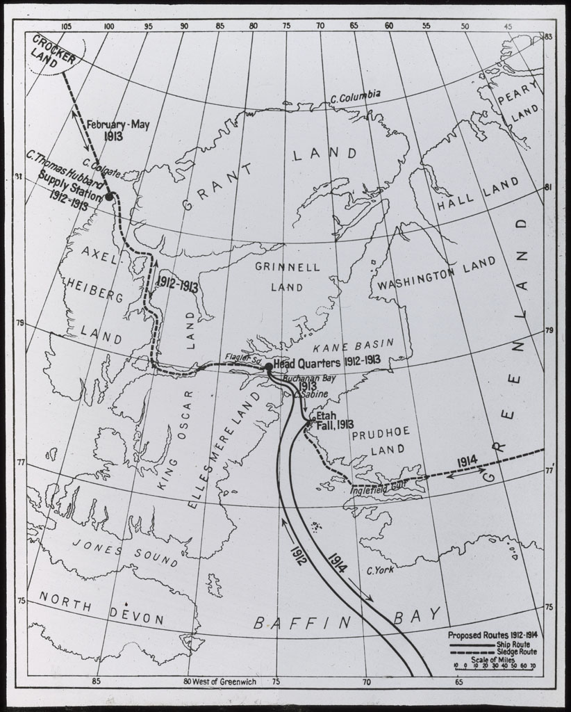 Donald Baxter MacMillan; Route of Crockerland Expedition; 1913-1917; image; silver gelatin on glass; 10.16 cm x 8.26 cm x 0.64 cm (4 in. x 3 1/4 in. x 1/4 in.); TGM; North America