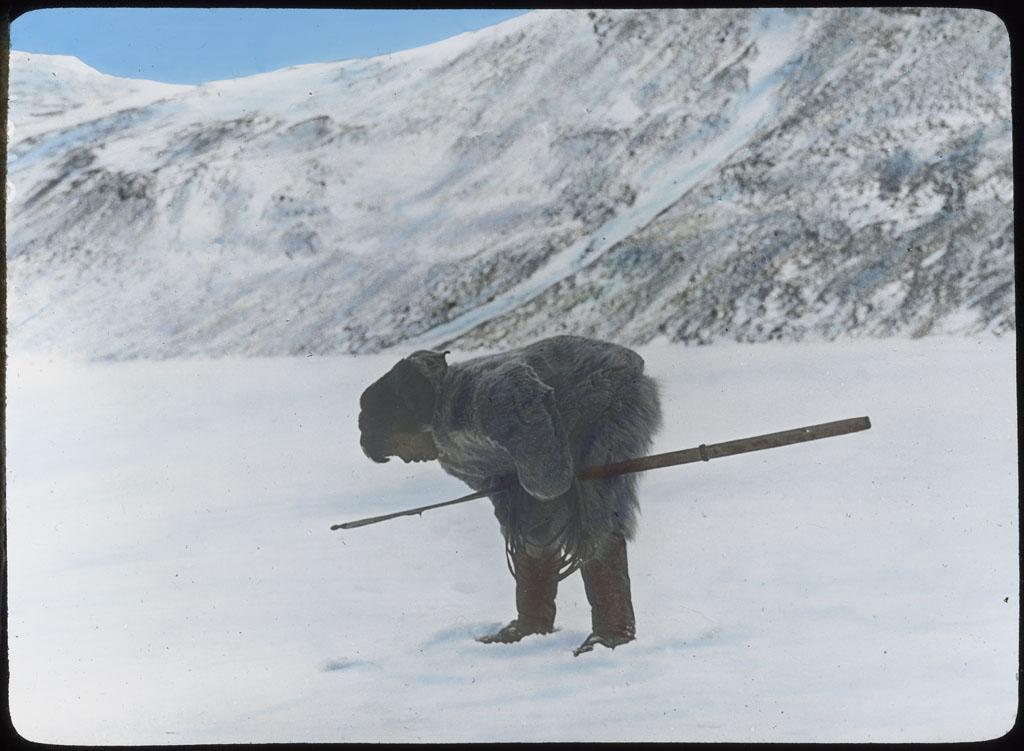 Donald Baxter MacMillan; Etuk-a-suk at Seal Hole [id'd as Nukapinguaq at AMNH]; 1913-1917; image; silver gelatin on glass; 10.16 cm x 8.26 cm x 0.64 cm (4 in. x 3 1/4 in. x 1/4 in.); TGM; North America