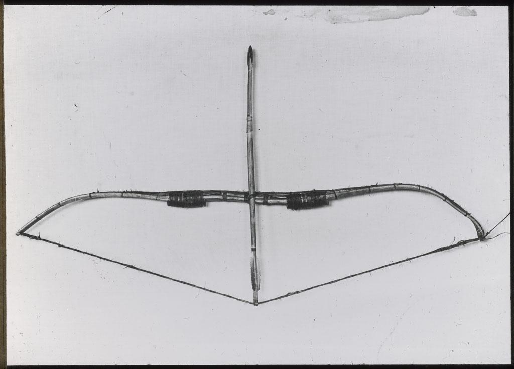 Donald Baxter MacMillan; Bow and Arrow; 1913-1917; image; silver gelatin on glass; 10.16 cm x 8.26 cm x 0.64 cm (4 in. x 3 1/4 in. x 1/4 in.); TGM; North America