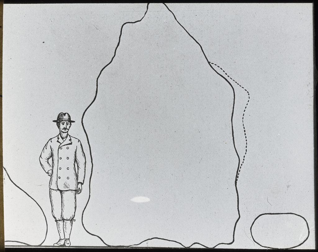 Donald Baxter MacMillan; Drawing. Man and the three Meteorites; 1913-1917; image; silver gelatin on glass; 10.16 cm x 8.26 cm x 0.64 cm (4 in. x 3 1/4 in. x 1/4 in.); TGM; North America