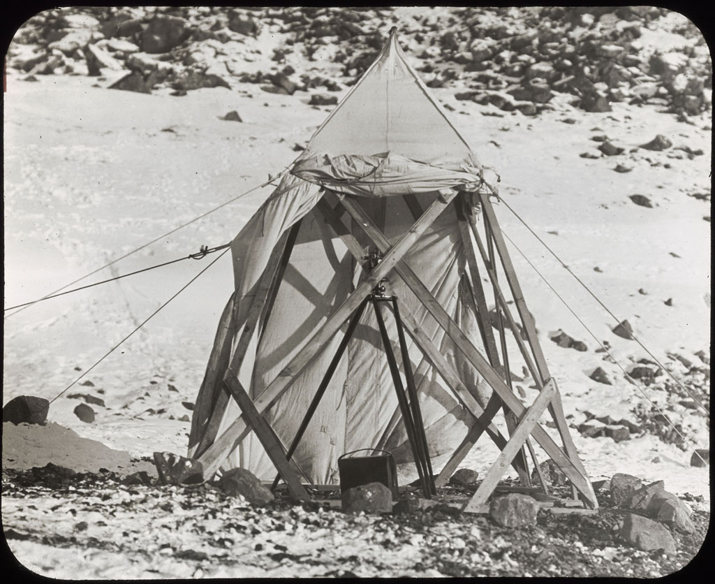 Donald Baxter MacMillan; Tents at Etah. Scientists; 1913-1917; image; silver gelatin on glass; 10.16 cm x 8.26 cm x 0.64 cm (4 in. x 3 1/4 in. x 1/4 in.); TGM; North America