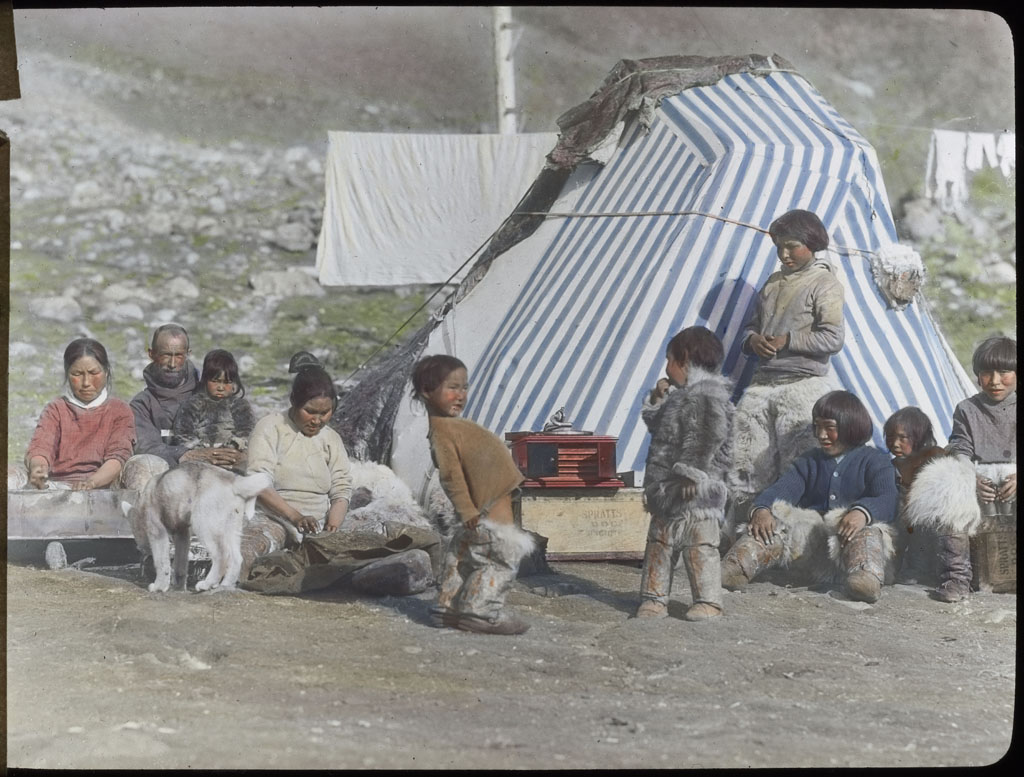 Donald Baxter MacMillan; Eskimos in front of tent; 1913-1917; image; silver gelatin on glass; 10.16 cm x 8.26 cm x 0.64 cm (4 in. x 3 1/4 in. x 1/4 in.); TGM; North America