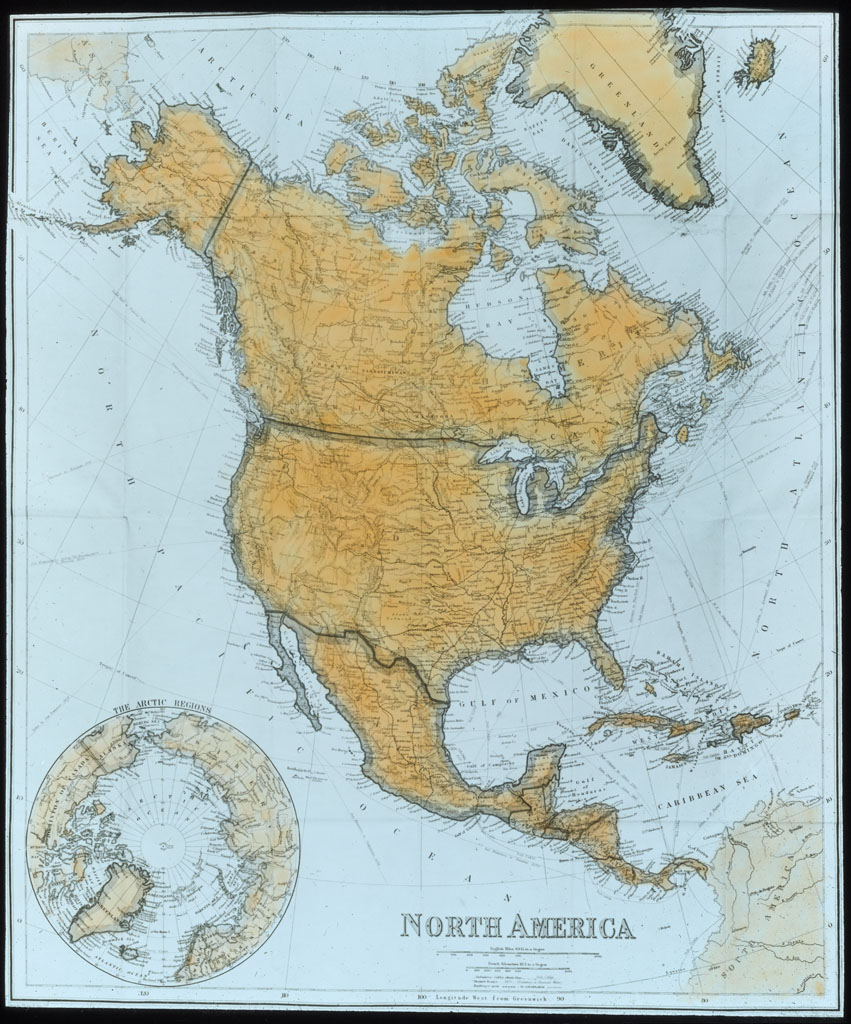 Donald Baxter MacMillan; Map of North America; image; silver gelatin on glass; 10.16 cm x 8.26 cm x 0.64 cm (4 in. x 3 1/4 in. x 1/4 in.); TGM; North America