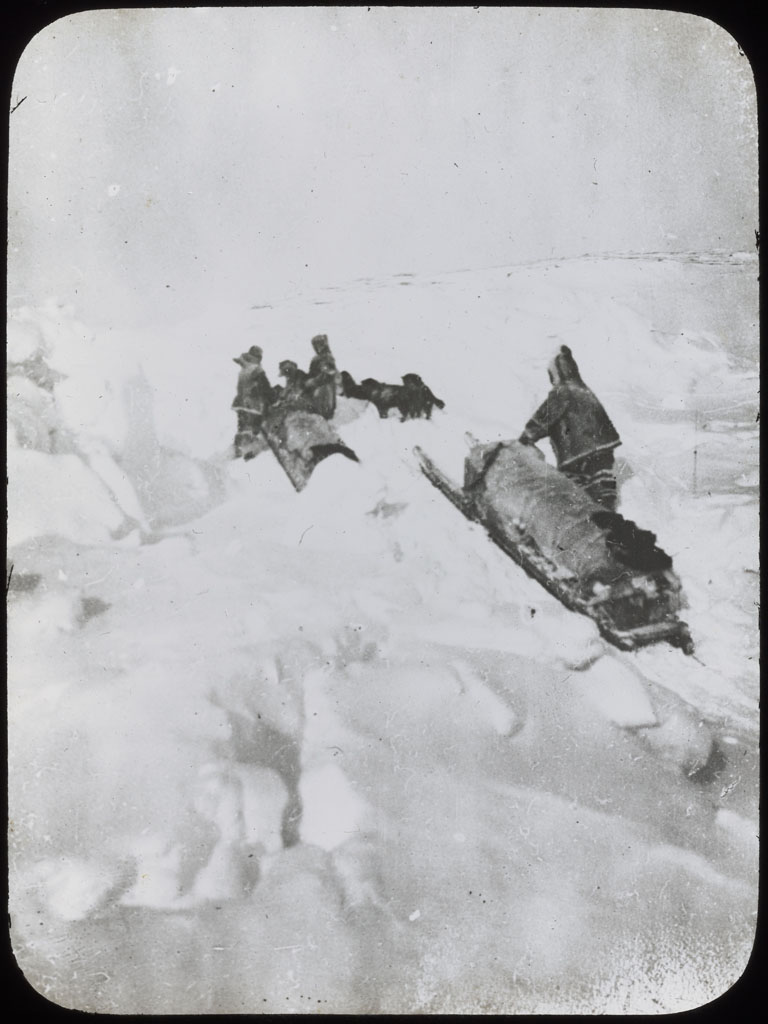 Donald Baxter MacMillan; Sledging Rough Polar Sea; 1913-1917; image; silver gelatin on glass; 10.16 cm x 8.26 cm x 0.64 cm (4 in. x 3 1/4 in. x 1/4 in.); TGM; North America