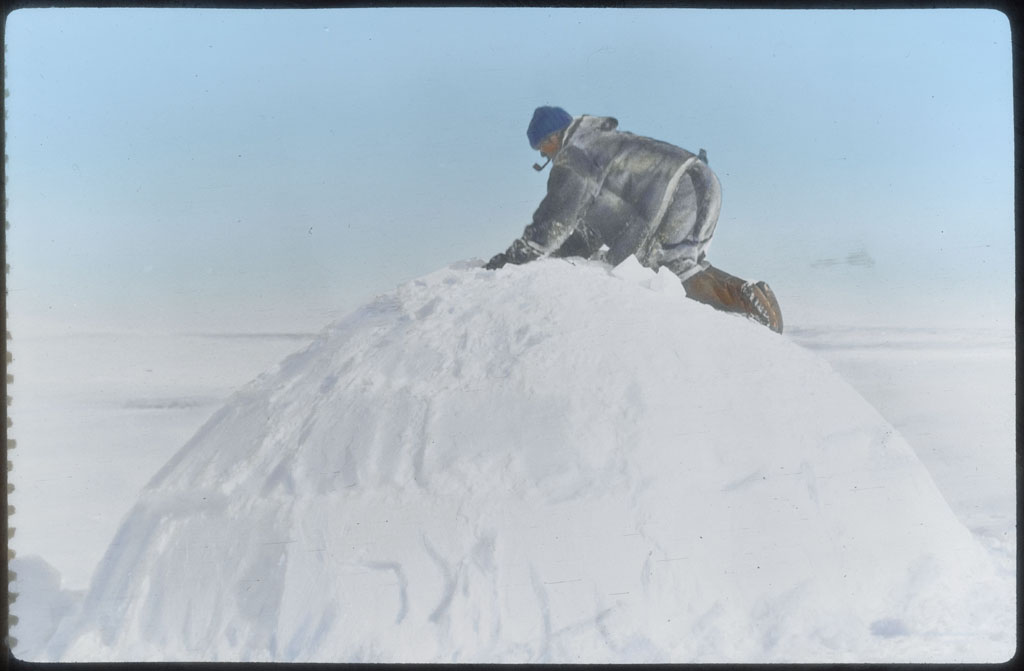 Donald Baxter MacMillan; Eskimo on top of a snow house; 1913-1917; image; silver gelatin on glass; 10.16 cm x 8.26 cm x 0.64 cm (4 in. x 3 1/4 in. x 1/4 in.); TGM; North America