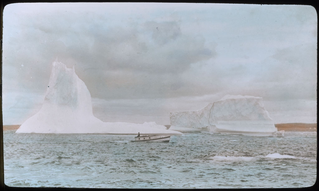 Donald Baxter MacMillan; The BORUP near iceberg; 1913-1917; image; silver gelatin on glass; 10.16 cm x 8.26 cm x 0.64 cm (4 in. x 3 1/4 in. x 1/4 in.); TGM; North America