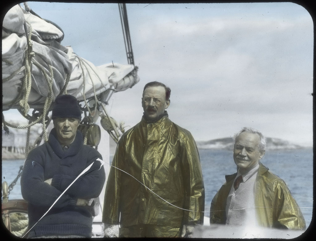 Donald Baxter MacMillan; MacMillan, Dr. Grosvenor, Dr. Grenfell  at Battle Harbor, Labrador; 1925; image; silver gelatin on glass; 10.16 cm x 8.26 cm x 0.64 cm (4 in. x 3 1/4 in. x 1/4 in.); TGM; North America