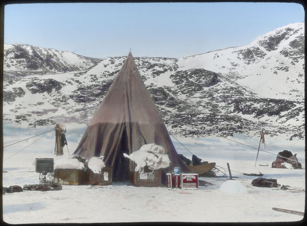 Donald Baxter MacMillan; Tent pitched, Arctic hare; 1913-1917; image; silver gelatin on glass; 10.16 cm x 8.26 cm x 0.64 cm (4 in. x 3 1/4 in. x 1/4 in.); TGM; North America