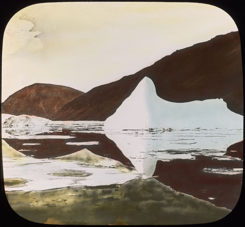 Donald Baxter MacMillan; Cape Union: Iceberg and reflections ; 1913-1917; image; silver gelatin on glass; 10.16 cm x 8.26 cm x 0.64 cm (4 in. x 3 1/4 in. x 1/4 in.); TGM; North America