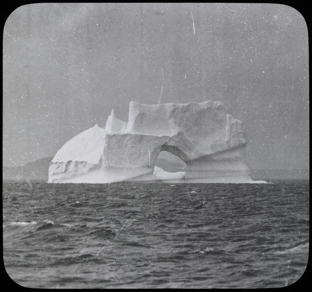 Donald Baxter MacMillan; Iceberg with hole.; 1913-1917; image; silver gelatin on glass; 10.16 cm x 8.26 cm x 0.64 cm (4 in. x 3 1/4 in. x 1/4 in.); TGM; North America