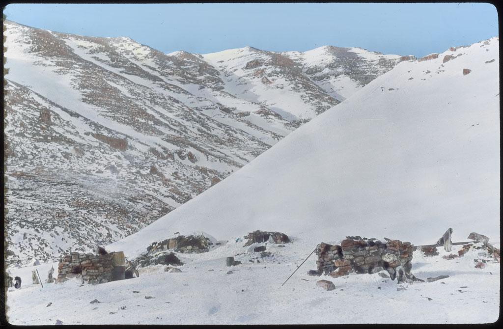 Donald Baxter MacMillan; Iglus [igloos] (winter homes of Polar Eskimos - Rocks for meat); 1913-1917; image; silver gelatin on glass; 10.16 cm x 8.26 cm x 0.64 cm (4 in. x 3 1/4 in. x 1/4 in.); TGM; North America