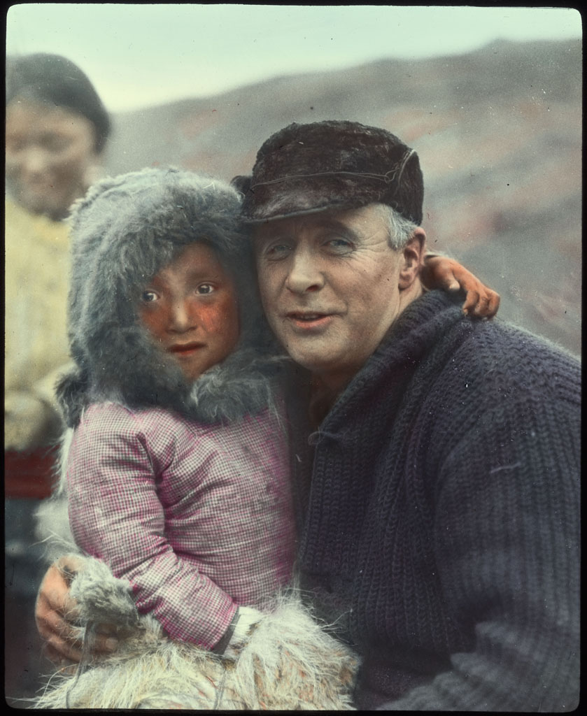 MacMillan and Eskimo child, mother beyond