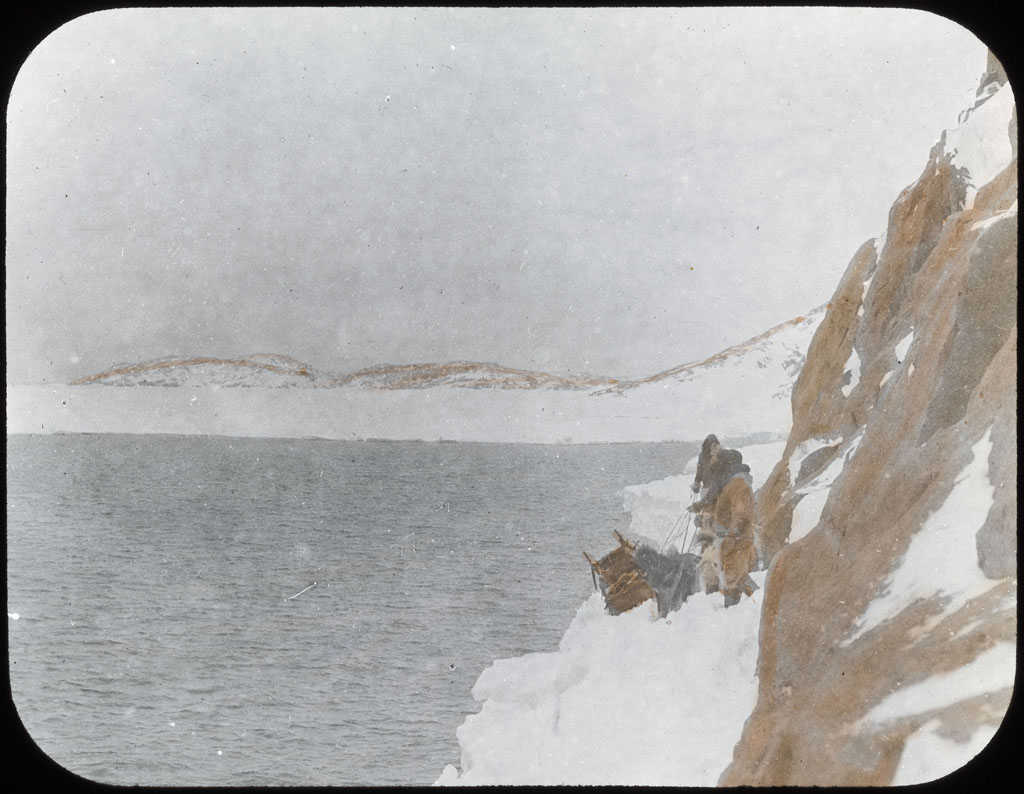 Donald Baxter MacMillan; Team on narrow icefoot ; 1913-1917; image; silver gelatin on glass; 10.16 cm x 8.26 cm x 0.64 cm (4 in. x 3 1/4 in. x 1/4 in.); TGM; North America