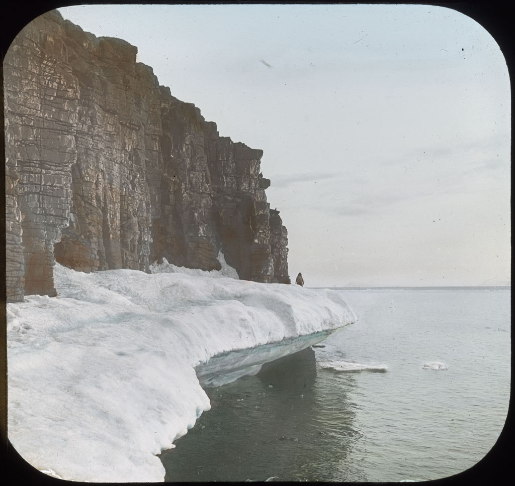Donald Baxter MacMillan; Icefoot high up; 1913-1917; image; silver gelatin on glass; 10.16 cm x 8.26 cm x 0.64 cm (4 in. x 3 1/4 in. x 1/4 in.); TGM; North America