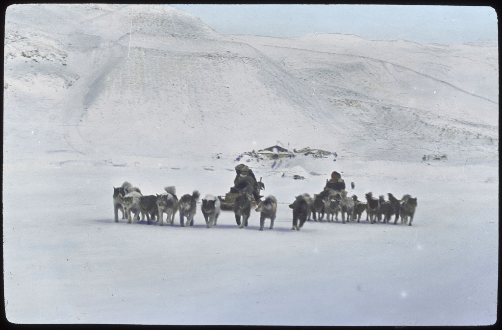 onald Baxter MacMillan; Dog teams - two coming! Borup Lodge beyond [2 copies]; 1913-1917; image; silver gelatin on glass; 10.16 cm x 8.26 cm x 0.64 cm (4 in. x 3 1/4 in. x 1/4 in.); TGM; North America