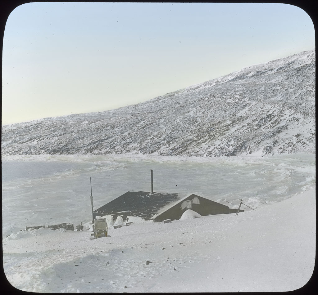 Donald Baxter MacMillan; Borup Lodge buried in snow; 1913-1917; image; silver gelatin on glass; 10.16 cm x 8.26 cm x 0.64 cm (4 in. x 3 1/4 in. x 1/4 in.); TGM; North America