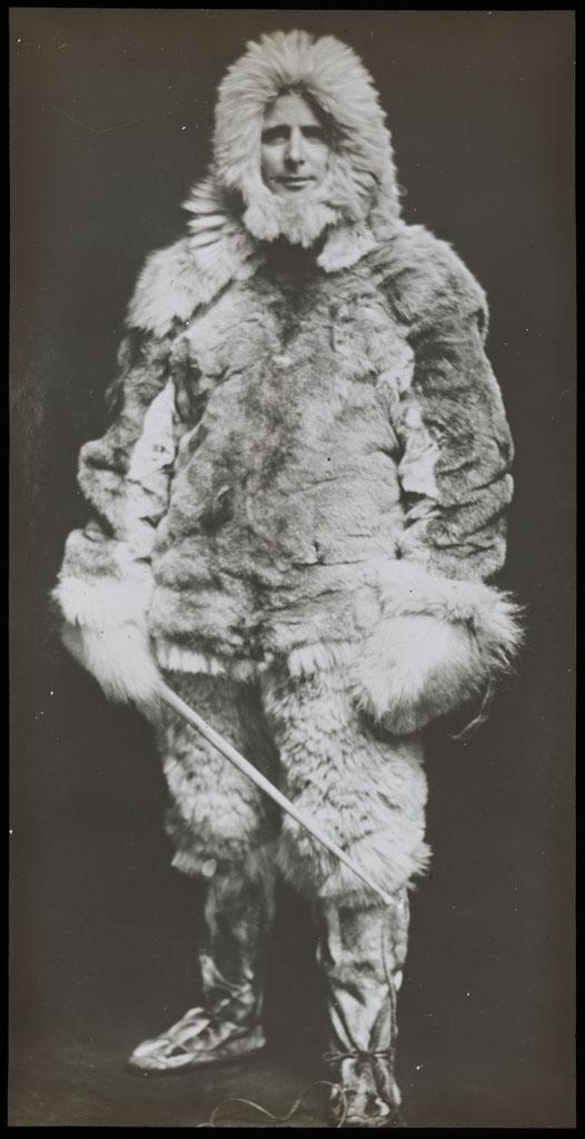 Donald Baxter MacMillan; MacMillan in furs; 1913-1917; image; silver gelatin on glass; 10.16 cm x 8.26 cm x 0.64 cm (4 in. x 3 1/4 in. x 1/4 in.); TGM; North America