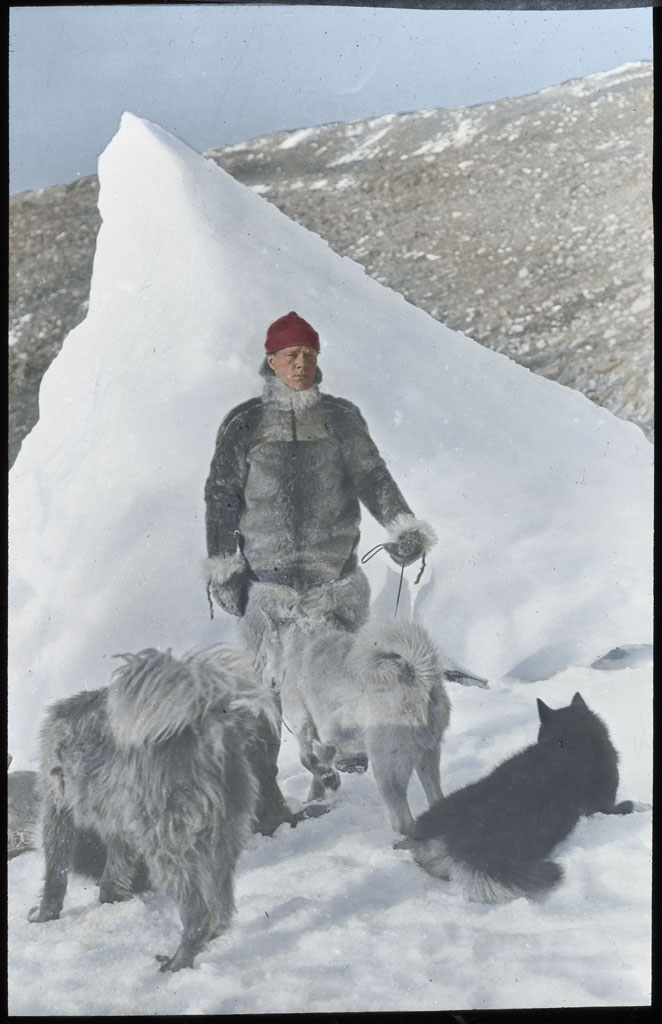 Donald Baxter MacMillan; Ekblaw of Crocker Land Expedition with dogs, by grounded iceberg; 1913-1917; image; silver gelatin on glass; 10.16 cm x 8.26 cm x 0.64 cm (4 in. x 3 1/4 in. x 1/4 in.); TGM; North America