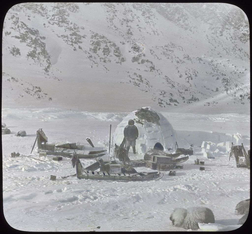 Donald Baxter MacMillan; Snow house and sledges at Cape Isabella; 17-May; image; silver gelatin on glass; 10.16 cm x 8.26 cm x 0.64 cm (4 in. x 3 1/4 in. x 1/4 in.); TGM; North America
