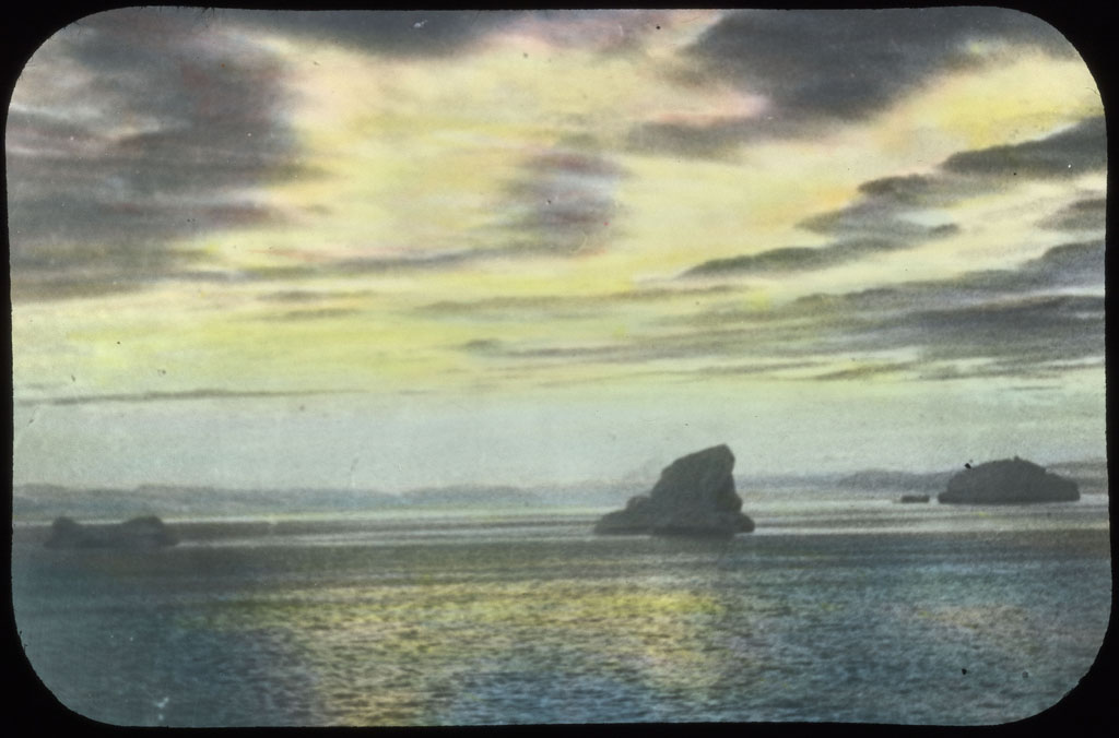 Donald Baxter MacMillan; Iceberg ahead.; 1913-1917; image; silver gelatin on glass; 10.16 cm x 8.26 cm x 0.64 cm (4 in. x 3 1/4 in. x 1/4 in.); TGM; North America