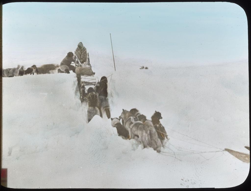 Donald Baxter MacMillan; Sledging on Polar Sea; 1913-1917; image; silver gelatin on glass; 10.16 cm x 8.26 cm x 0.64 cm (4 in. x 3 1/4 in. x 1/4 in.); TGM; North America