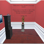 A virtual room with a painting, wardrobe, and flowerpot on a pedestal.