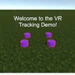 Welcome to the VR Tracking Demo written in the center of a large field under a blue sky.