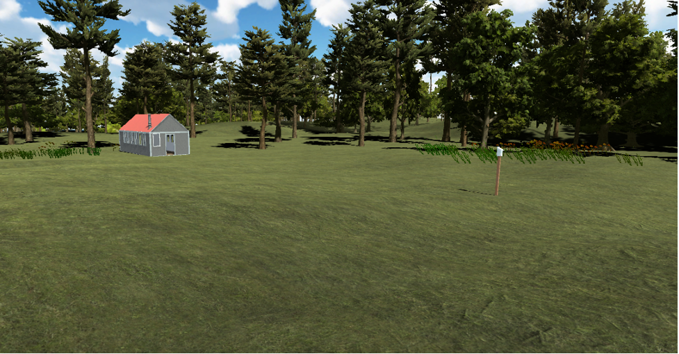 Wide angle shot of the finished models of the bird house, and half of the lab research center on a demo island.