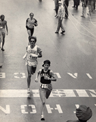 Joan Benoit '79 was a senior at the College when, wearing a Bowdoin singlet and a Red Sox cap, she crossed the finish line, winning the 1979 Boston Marathon in what was then a women's course-record of 2:35:15.