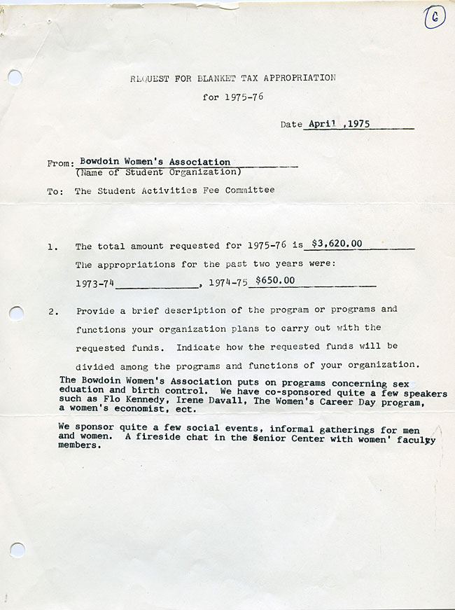 AG40.1 - 1975 Funding Request and Constitution for the Bowdoin Women's Association