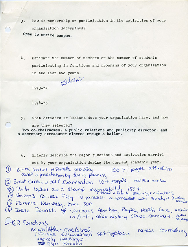 AG40.2 - 1975 Funding Request and Constitution for the Bowdoin Women's Association