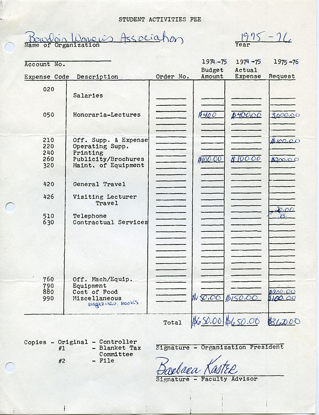AG40.4 - 1975 Funding Request and Constitution for the Bowdoin Women's Association