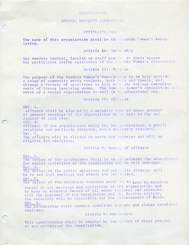 AG40.5 - 1975 Funding Request and Constitution for the Bowdoin Women's Association