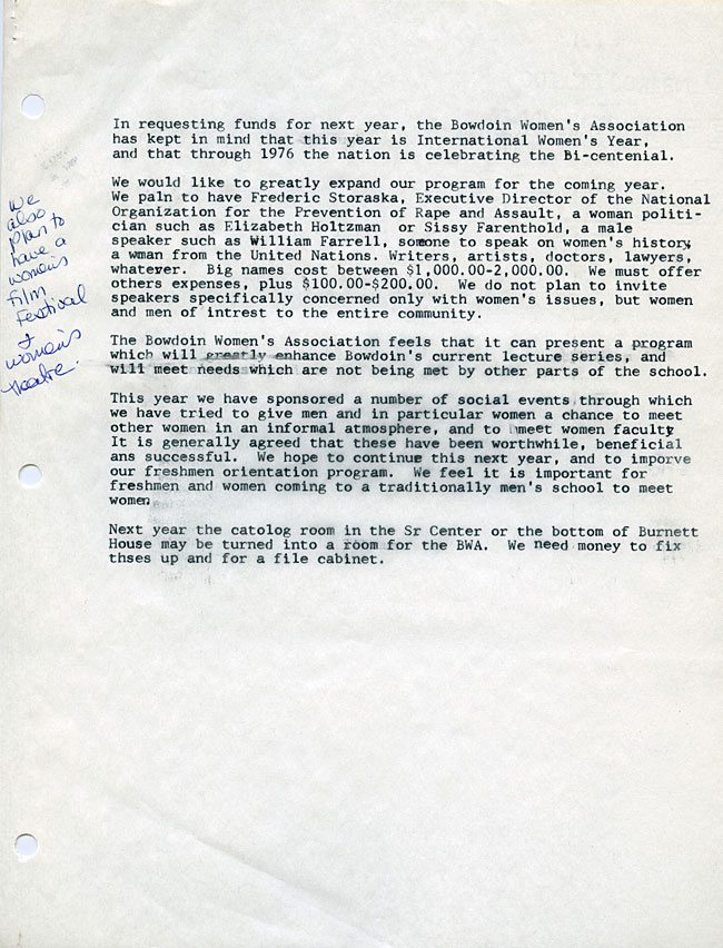 AG40.6 - 1975 Funding Request and Constitution for the Bowdoin Women's Association