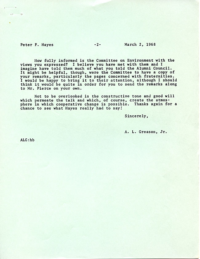 AW44.2 Page 2 - Letter from LeRoy Greason to Peter Hayes