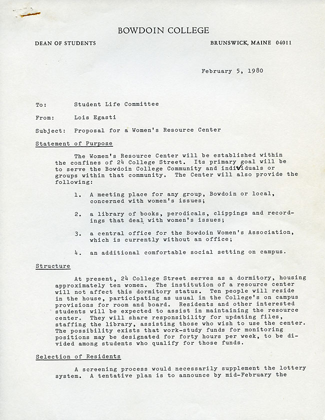 Proposal For A Womens Resource Center Forty Years The History Of