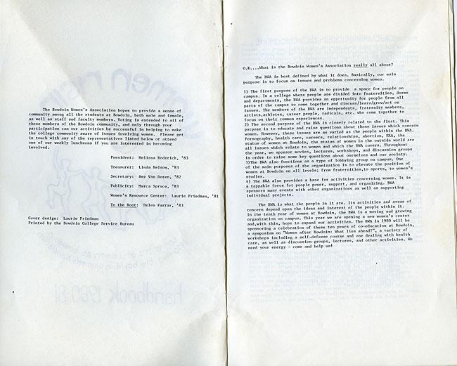 CS63 Page 2 - Bowdoin Women's Association Handbook