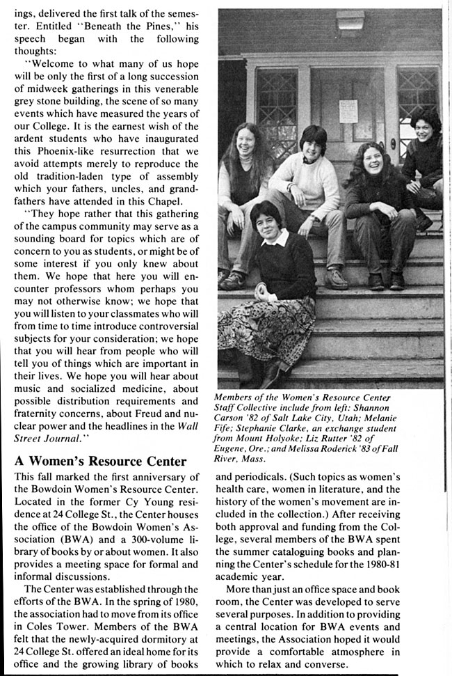 CS64 Page 1 - Bowdoin Alumnus Magazine: A Women's Resource Center